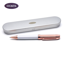 CCCAGYA C032 new arrival rose gold color Rotating metal ballpoint pen high quality business gift pen Office & School Supplies недорого