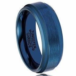 3bcb52b36111 Enfriar para mujer para hombre azul carburo de tungsteno banda de boda  anillo 8mm Comfort fit