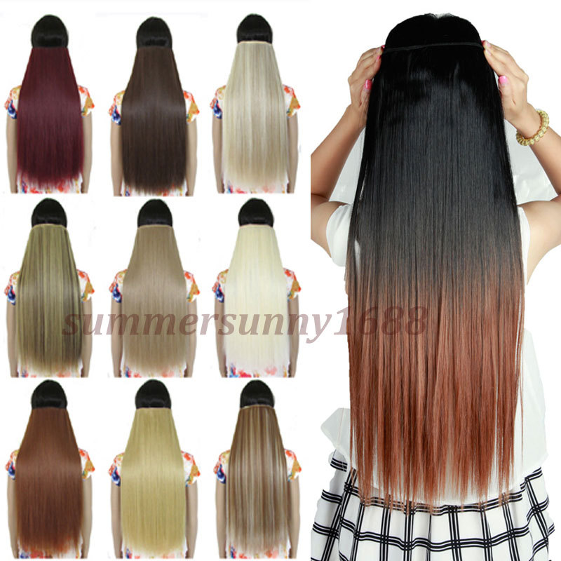 Synthetic ombre hair extensions clip in on 34 full head long 26 synthetic ombre hair extensions clip in on 34 full head long 26 straight black brown blonde auburn dip dye hair piece us stock on aliexpress alibaba pmusecretfo Images