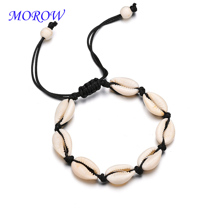MOROW Hot New Fashion Adjustable Personality Bracelet Natural Shell Handmade Woven Bracelet Women Jewelry Gift Mujer Pulseras