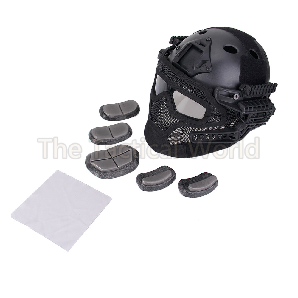 Outdoor PJ Helmet with Detachable G4 System Overall Protection Face Mask Multi-function Tactical Airsoft Helmets w/ Goggles Gear protective outdoor war game military skull half face shield mask black