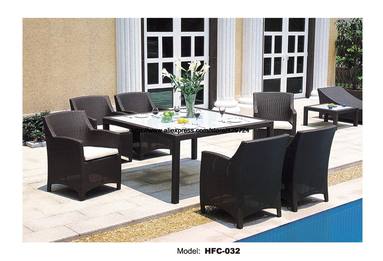 Classic Garden Set Modern Leisure Outdoor desk Table chairs Patio balcony Garden furniture combination rattan chairs 1.6M Table цена