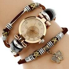 Gnova Platino Top Mujeres Premium Triple Mariposa Reloj de Pulsera de Reloj de Cuero Genuino Reloj de pulsera de Moda Del Encanto Párr Femme A581
