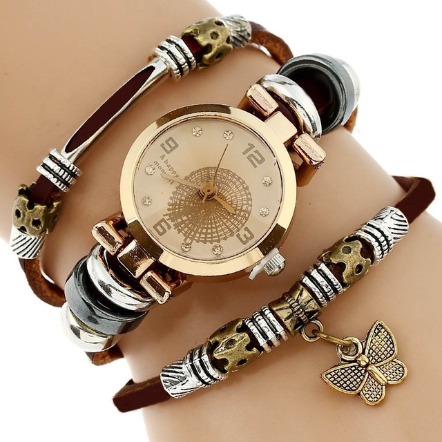 Gnova Platinum Top Women Premium Genuine Leather Watch Triple Bracelet  Watch Butterfly Charm Wristwatch Fashion Para Femme A581 4f8268ae1