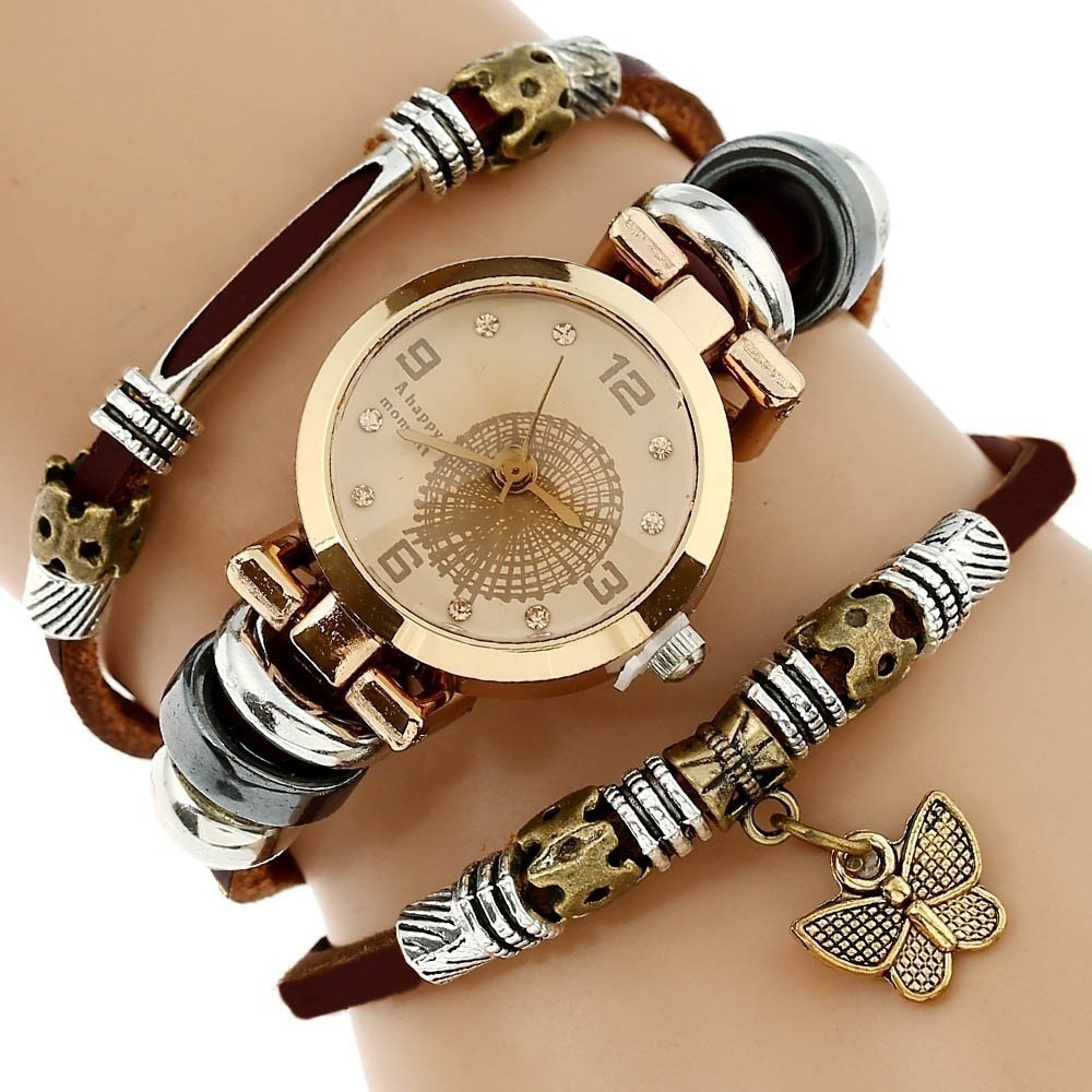 Gnova Platinum Top Women Premium Genuine Leather Watch Triple Bracelet Watch Butterfly Charm Wristwatch Fashion Para Femme A581