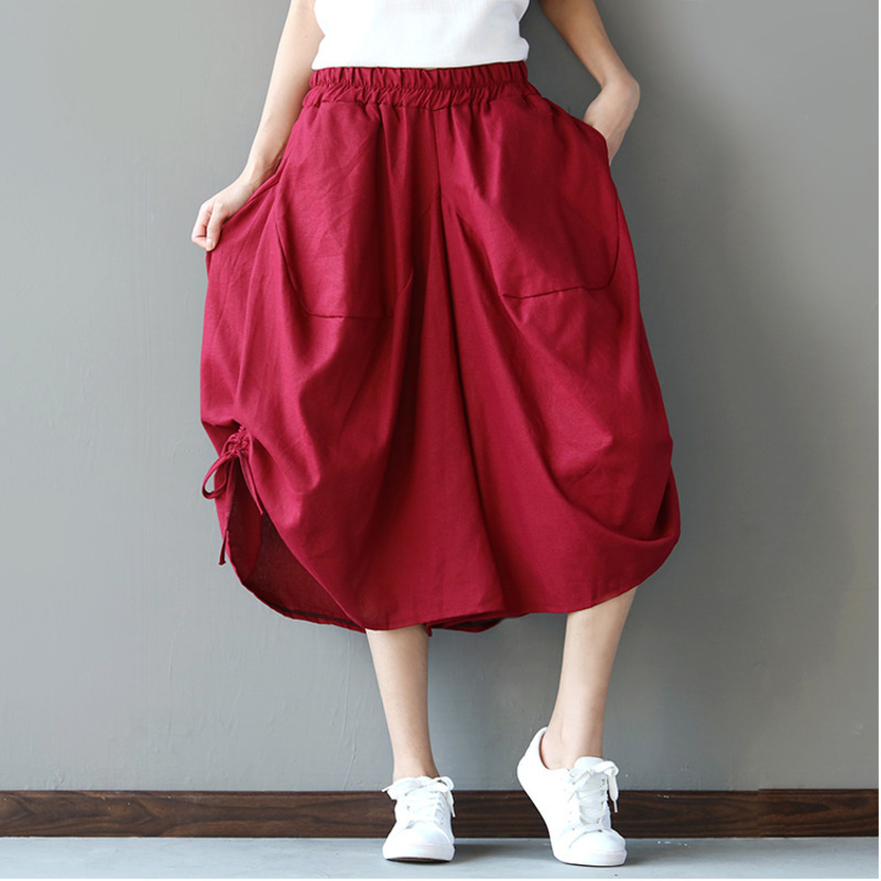 0654 Summer Big Size Casual Wide Leg Pants Women Asymmetrical Bloomers Pants Female Loose Calf length Cotton Linen Pants Tide in Pants amp Capris from Women 39 s Clothing