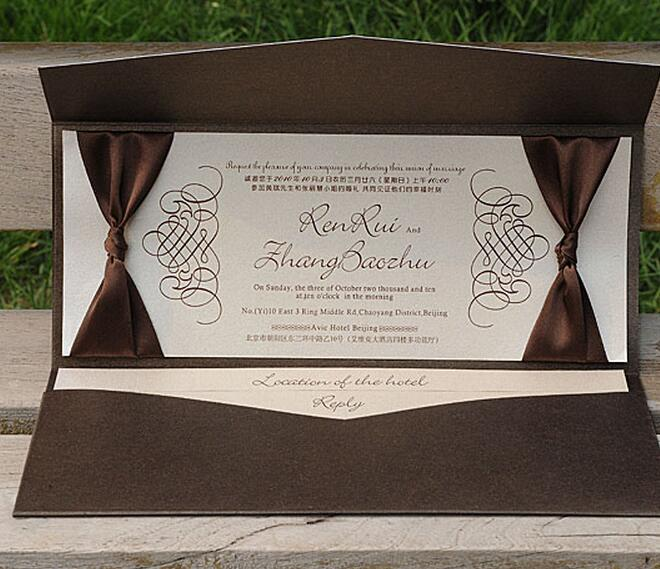 Rustic Wedding Invitations Card With Ribbon Bow Customised Birthday Party Business Rsvp Nk132 In Cards From