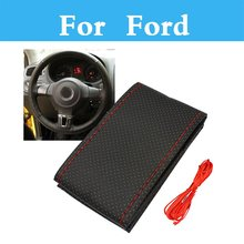 Diy Car Steering Wheel Cover Hand-Stitched Leather For Ford Focus Rs Focus St Freestyle Fiesta Fiesta St Five Hundred Flex