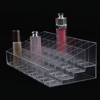 10 Pcs New Acrylic Organizer Lipstick Jewelry Display Holder Nail Polish Rack All Transparent Colors