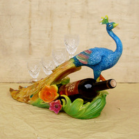Private custom beautiful peacock ornaments resin wine rack upscale hotel club style send glasses