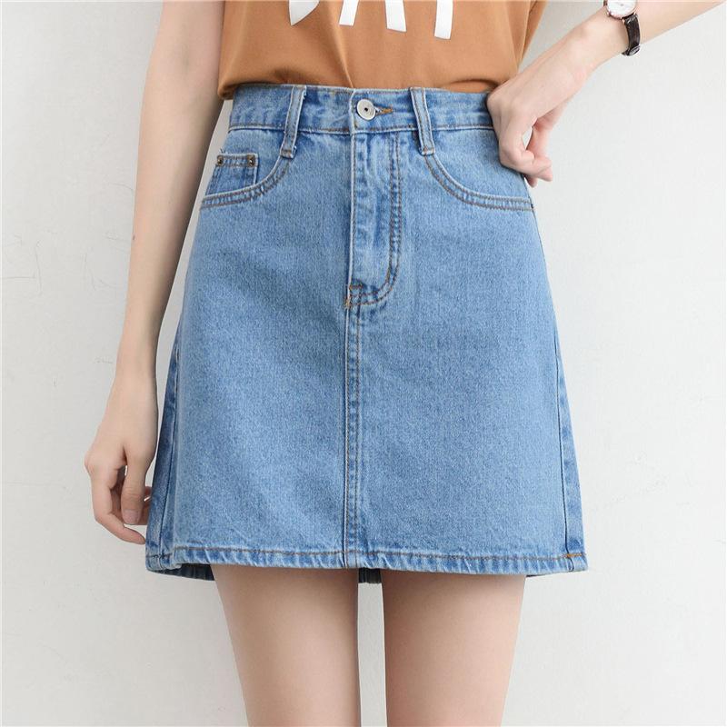 Lucyever Fashion Korean Summer Women Denim Skirt High Waist Black Mini Skirts Package Hip Blue Jeans Harajuku Plus Size Cotton 6