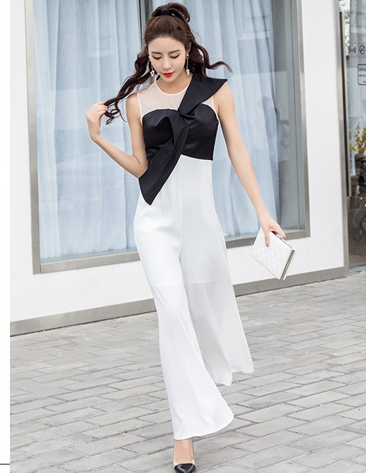 2018 Summer patchwork black and white sexy jumpsuit knotted bow empire waist full length long pants romper jumpsuit party overal