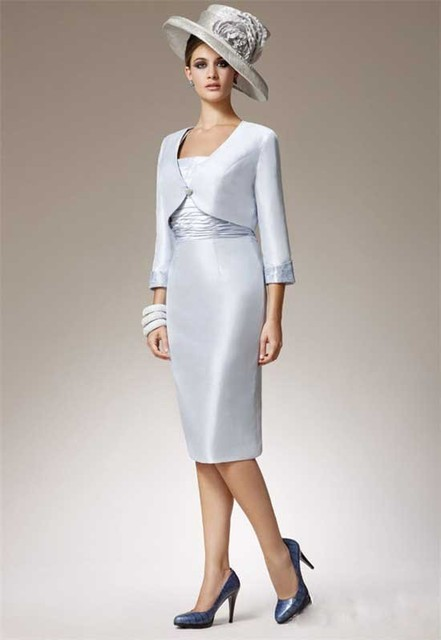 Elegant And Simple Designer Silver Taffeta Mother Of The Bride Dress ...