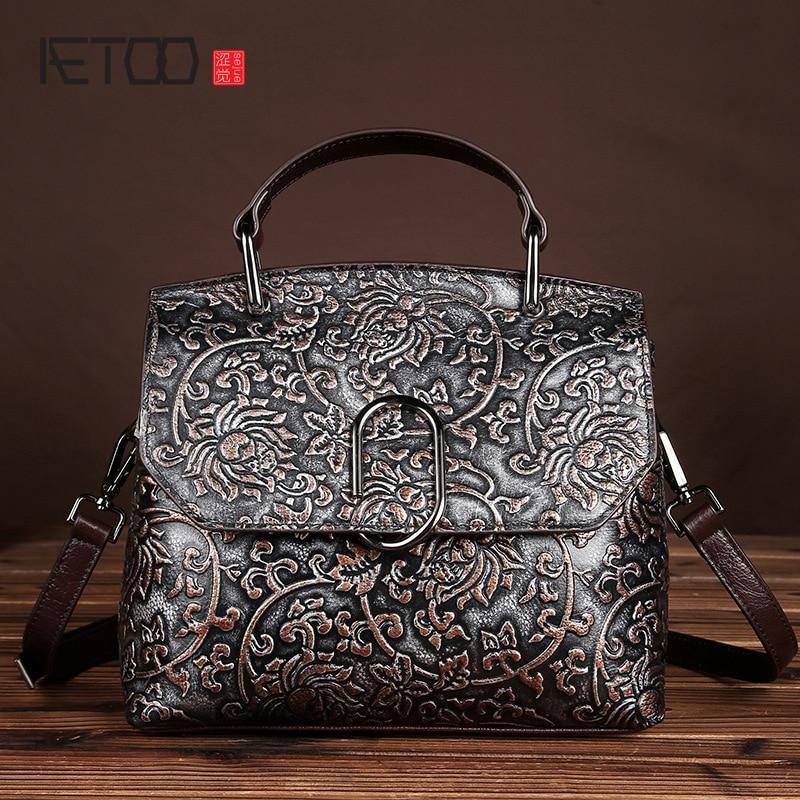 ФОТО Original personality manual brush color retro old leather handbag leather high-end casual handbag
