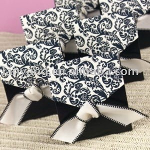 Free Shipping  Black Flourish Favor Box With Ribbon Wedding Party Favor Boxes 50pcs