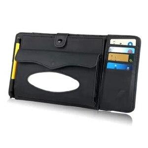 Image 2 - 3 w 1 skórzany futerał na CD samochodowy odtwarzacz dvd osłona przeciwsłoneczna z organizerem do przechowywania tkanek na okulary Folder wizytownik na karty biznesowe