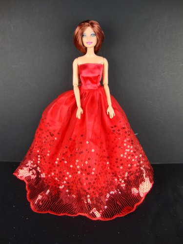 Lovely Pink Costume with Sequins for the Barbie Doll Nice Kids Reward