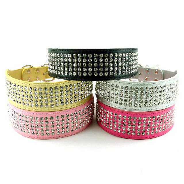 2 inch Wide Leather Dog Collar 8 colors 5 Rows Full Diamante Rhinestoner Pet Collars