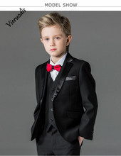 лучшая цена Black Boys Single Button Suits Boys Communion Wedding Occasion 3  Suits Custom Made