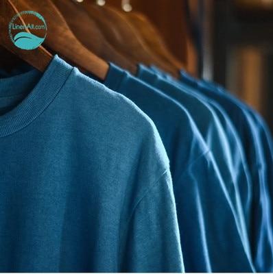 LinenAll t-shirt femme bleu pur fait main plante bleu colorant 100% coton t-shirt femme ou homme