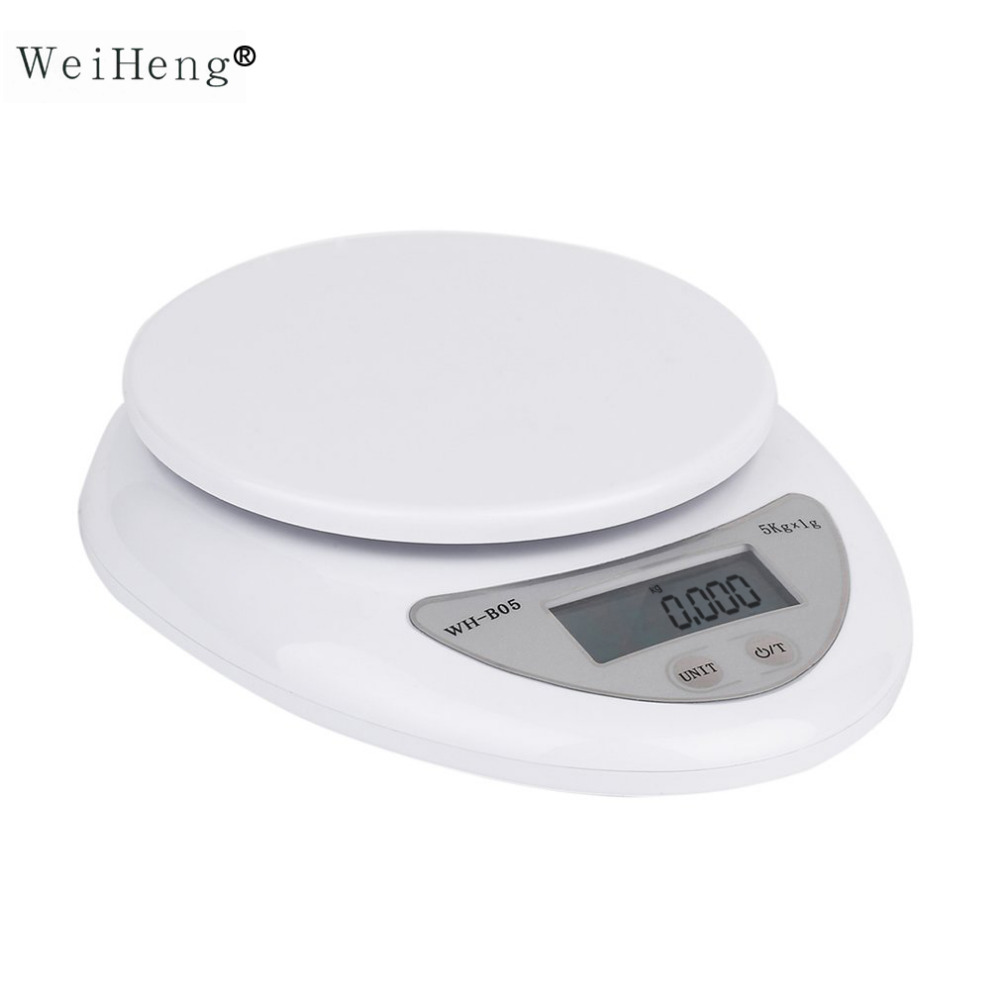 WeiHeng Venta caliente 5 kg 5000g/1G LED escala Digital de Cocina Comida dieta Postal Escala electrónica del peso escalas Balance herramienta