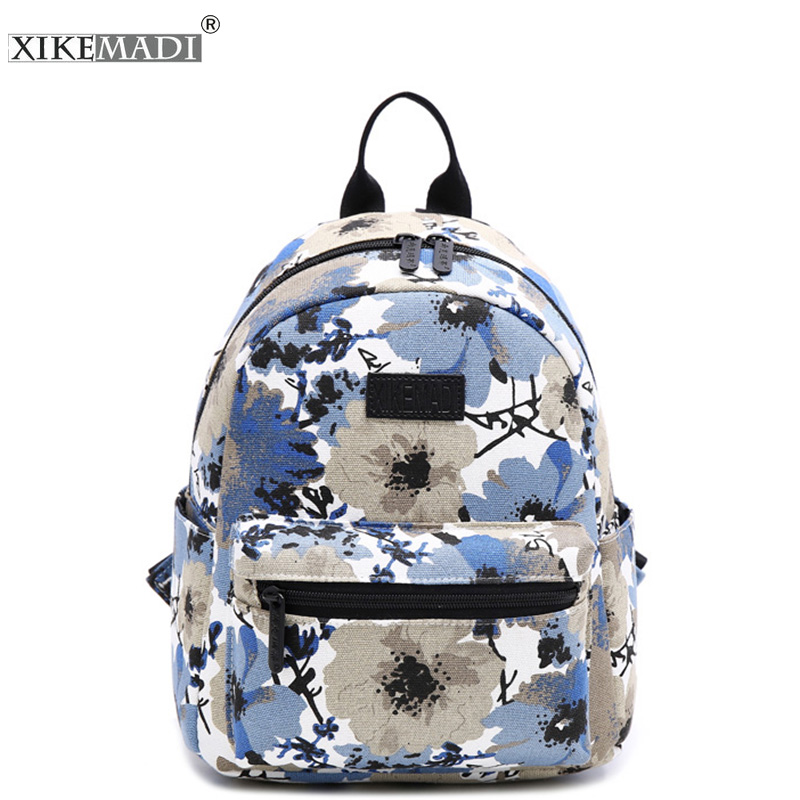 XIKEMADE Printing Backpack Beautiful Flower Big School Girls Multifunction Travel Canvas Backpacks