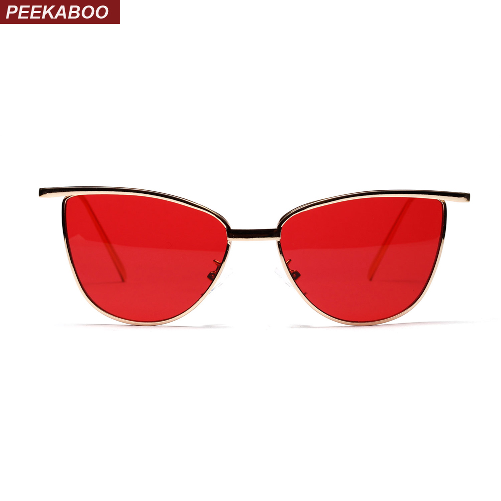 Peekaboo high quality red cat eye sunglasses women brand designer 2018 metal frame clear lens sun glasses for women uv400