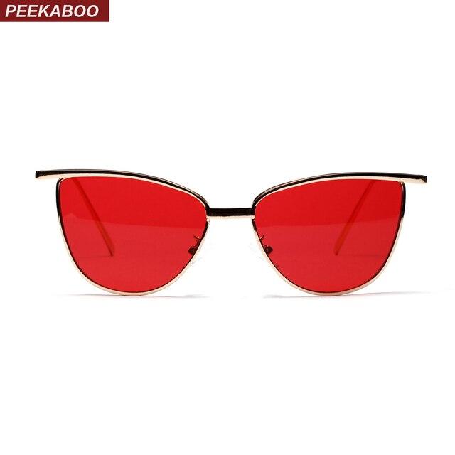 fb0e564de2 Peekaboo high quality red cat eye sunglasses women brand designer 2018 metal  frame clear lens sun glasses for women uv400