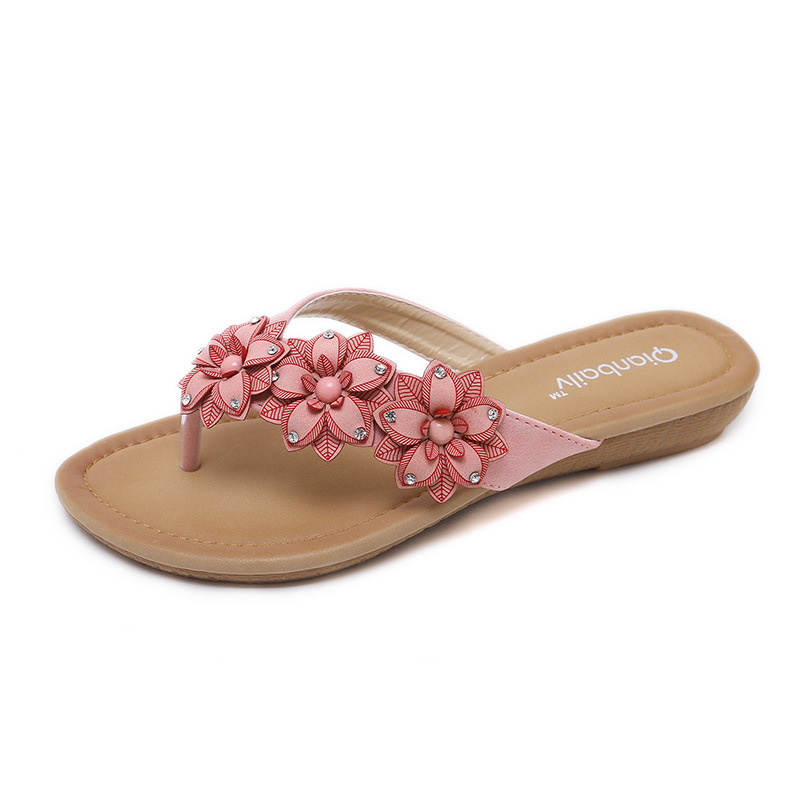 new women Bohemia Flat sandals shoes woman Flower rhinestone Decoration flip flops beach sandals casual shoes size 35-42 women sandals fashion tassel summer shoes woman size 35 43 flat sandals metal decoration casual shoes female flip flops sandales