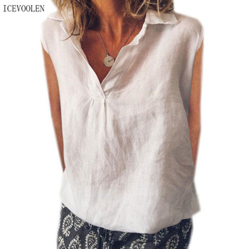 цена New large size shirt ladies elegant shirt fashion temperament shirt casual cotton short-sleeved shirt women онлайн в 2017 году