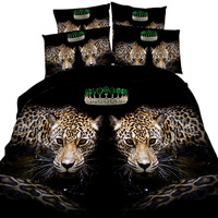 yeeKin 100% Cotton 3/4 Pieces Animal Bed Sheets Luxury Black Panther Leopard Crown Bedding Set Twin/Queen/Full/King Size