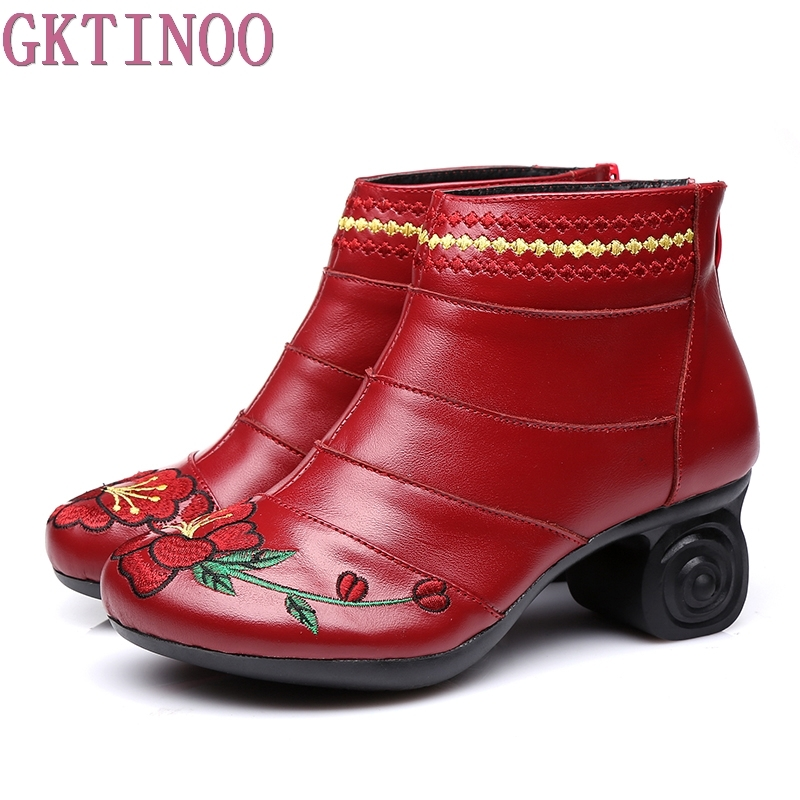 Handmade Women Shoes Genuine Leather Women Boots Spring Autumn Vintage Ankle Boots Flat Bootie Botas Mujer handmade genuine leather boots vintage national trend women boots twiddlefish platform flat heels boots women shoes
