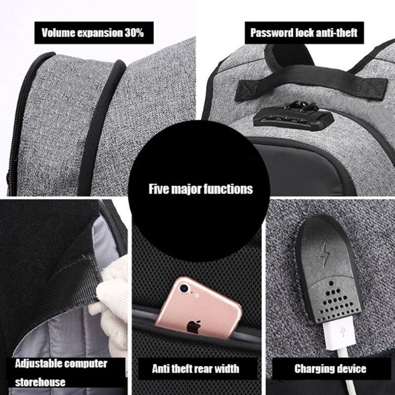 OZUKO toile sac à dos hommes USB Charge mot de passe serrure Anti-vol en trois dimensions sac à dos Style européen et américain sac de voyage - 4