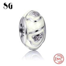 2017 Spring New Style 925 Sterling Silver Bead  With white Colours of the rainbow Polishing Enamel Fit Pandora Bracelet