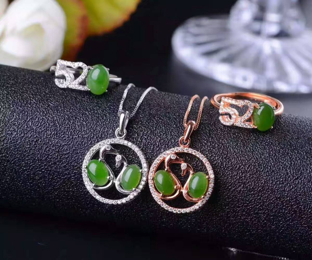 Natural green jasper gem jewelry sets natural gemstone ring Pendant 925 silver Stylish Romantic Swan love women party jewelry natural green jasper gem jewelry sets natural gemstone ring earrings pendant 925 silver stylish elegant round women fine jewelry