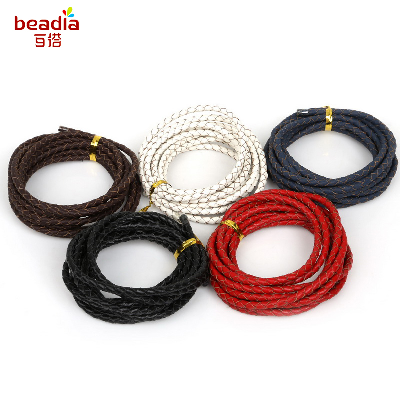 5M Flat Real Genuine Leather Rope Cord Strap String First Layer Cowhide DIY Home