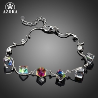 Rhodium Plated 6pcs Purple Cube SWA ELEMENTS Austrian Crystal Charm Bracelet FREE SHIPPING Azora TS0044