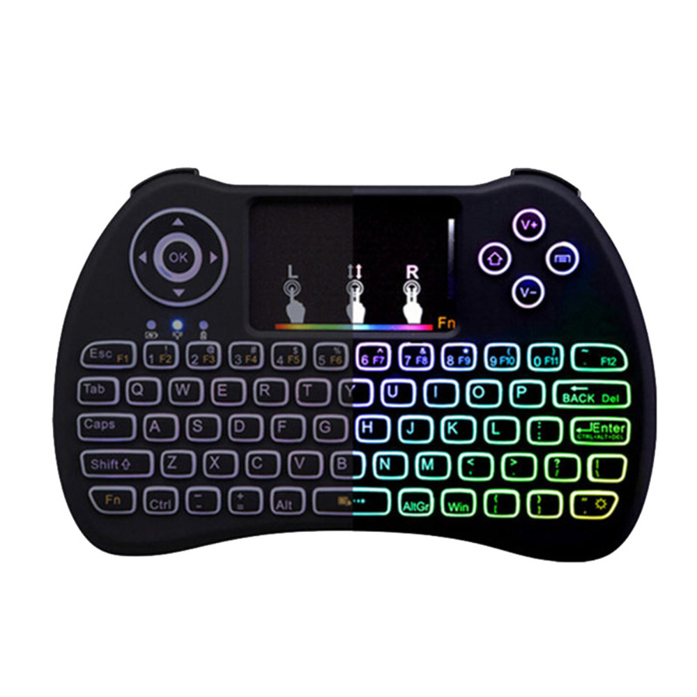 Portable Mini Wireless Keyboard H9 2.4GHz Air Mouse With RGB Backlit Remote Control Touchpad For PC Smart TV Android TV Box original t2 air mouse 2 4g wireless mini keyboard 3d sense motion remote controller t2 air mouse for android smart tv box pc