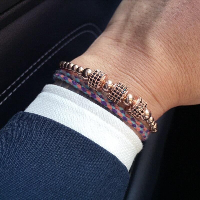 Mcllroy In Acciaio Al Titanio Perline Treccia Macrame Uomini Braccialetto per Gli Uomini Dei Monili DELLA CZ Intarsio Perline Pendenti e Ciondoli Bracciali e Braccialetti pulseiras