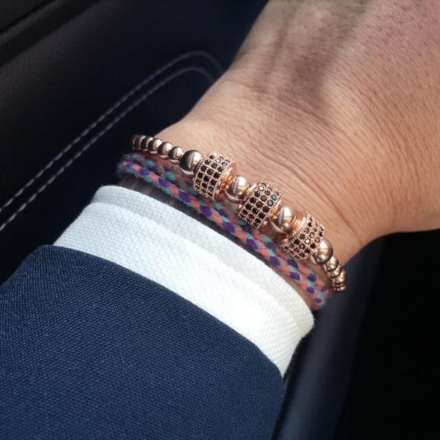 2d5085650e45 Mcllroy de acero de titanio perlas trenzado Macrame pulsera de los hombres  para los hombres de