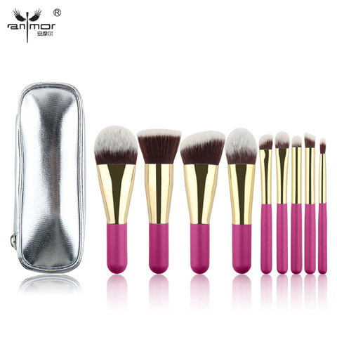 Anmor Hot Sale 9 Pieces Synthetic Hair Makeup Brushes with Sliver Color Bag Beautiful Traveling Makeup Brush Set B001 Karachi