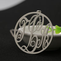 20mm Monogram Pendant Girl Necklace Personalized Three Initals Silver Fashion Jewelry Pricess Necklace