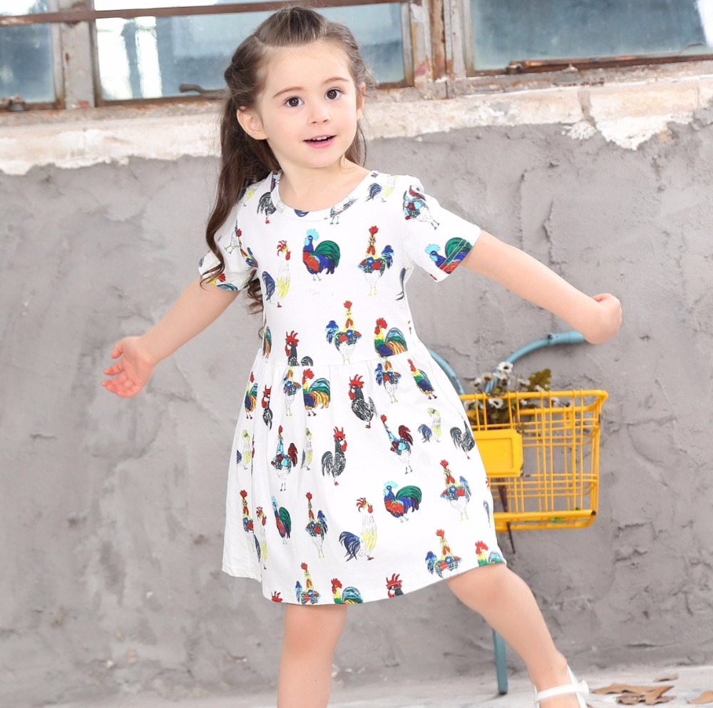 Girls Dresses Summer 2017 Printed Chicken Dresses For Girls Infant Cute Children Costumes Wear Casual New Fashion Kids Clothes 2016 sale new knee length kids kids dresses for girls free shipping2013 fashion dance dressperformance wear costumes th3004c