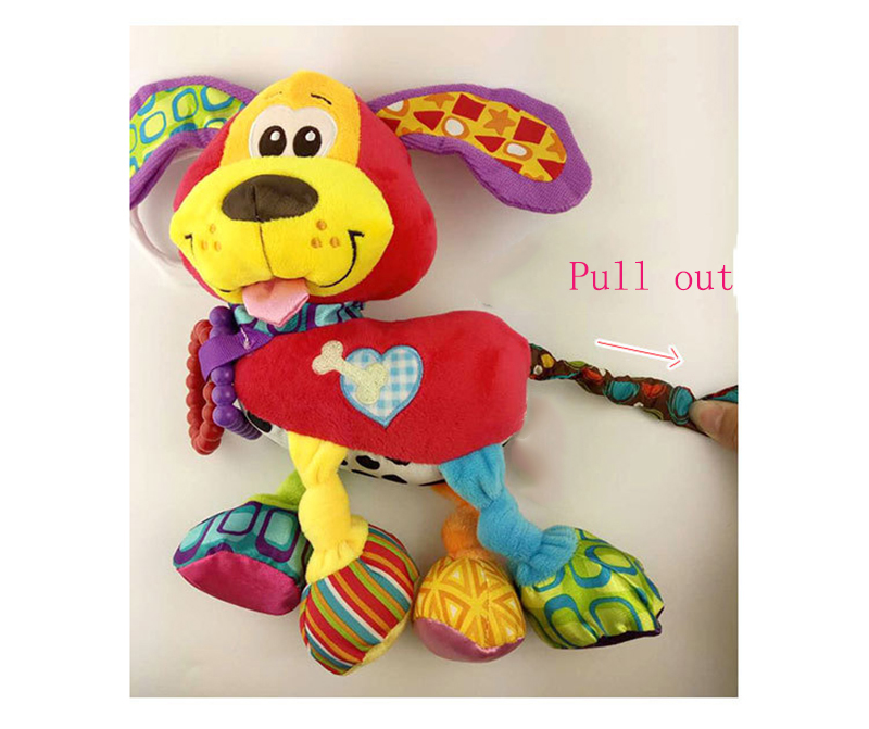 35*22CM Musical Cute Rattles Bed Crib Stroller Kids Stuffed Doll Vibrator Dog Hand Bell Shake RingToy With Teether D012 13