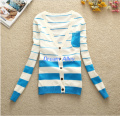 Free shipping female sweater slim cardigan thin stripe V-neck female outerwear