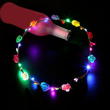 8pcs/set Women Girls Led Light Up Flower Headband Flashing Glowing Crown Masquerade Party Hair Wreath Hairband Luminous Garlands(China)