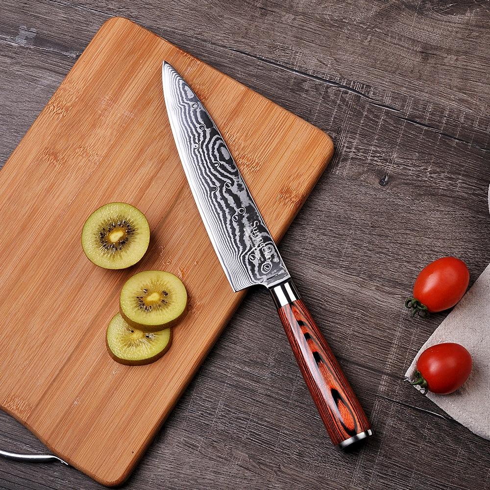 2018 SUNNECKO 8 pouce de Chef Couteau Damas Lame En Acier Cuisine Couteaux Japonais VG10 Acier Core Pakka Manche En Bois Chef Cutter
