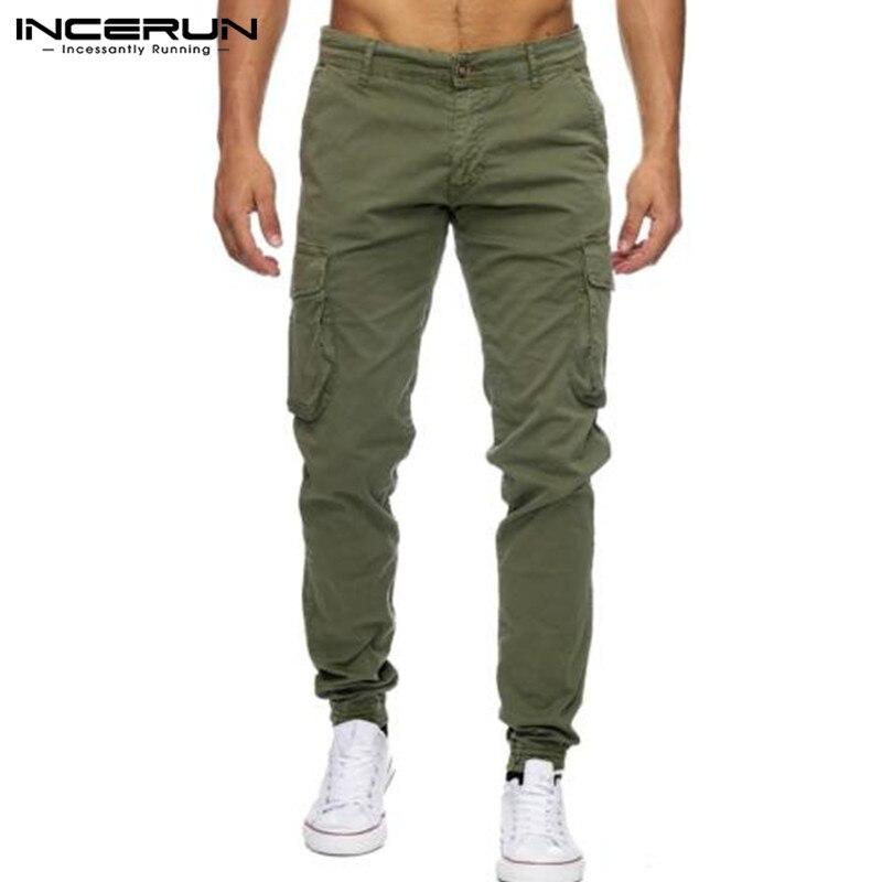 Incerun Большой размер 40 штаны-карго мужские военные прочные повседневные брюки для пробежек карманы Тонкий Фитнес рабочие брюки осень-весна