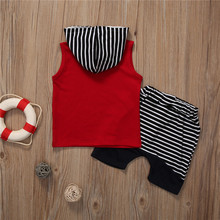 Sleeveless Hooded Top +Striped Shorts Pant Set