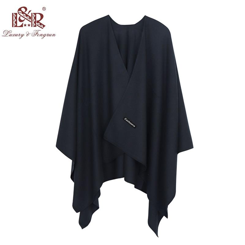 2019 140*140mm Winter Square Female Poncho Cashmere Wool Women Poncho Scarf  Solid Foulard Femme Pashmina Shawl Winter Excharpe